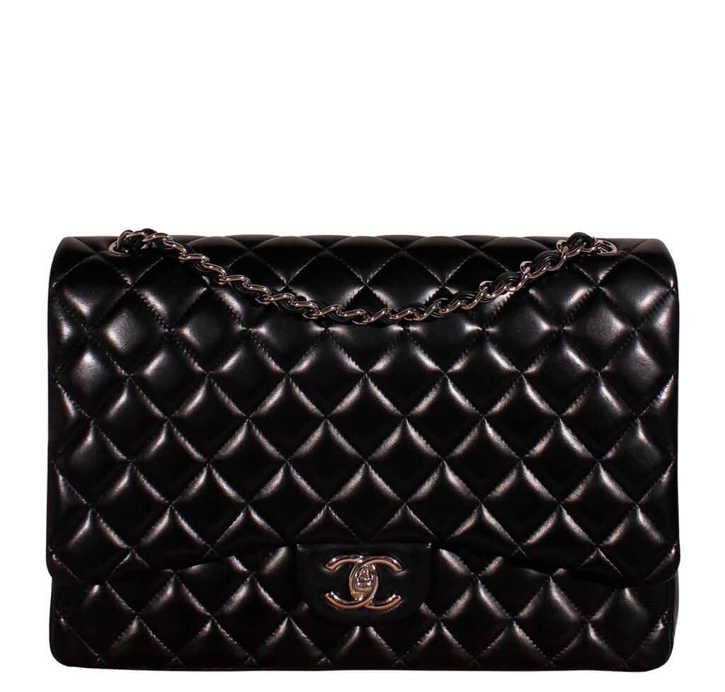 Chanel 2.55 Maxi Jumbo XL Double Flap Bag Black  c4ba77596183e