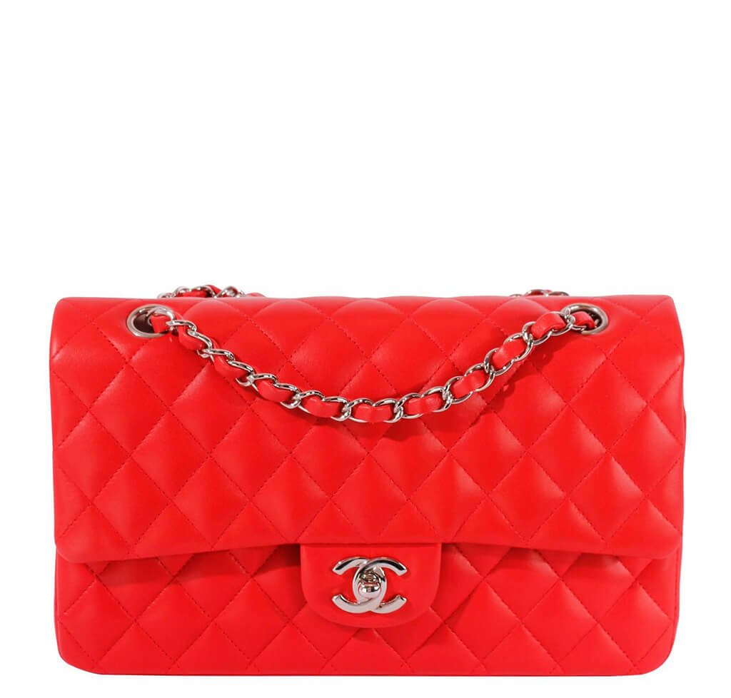 fd53297aede3 Chanel 2.55 Medium Bag Red Lambskin Leather - Silver Hardware ...