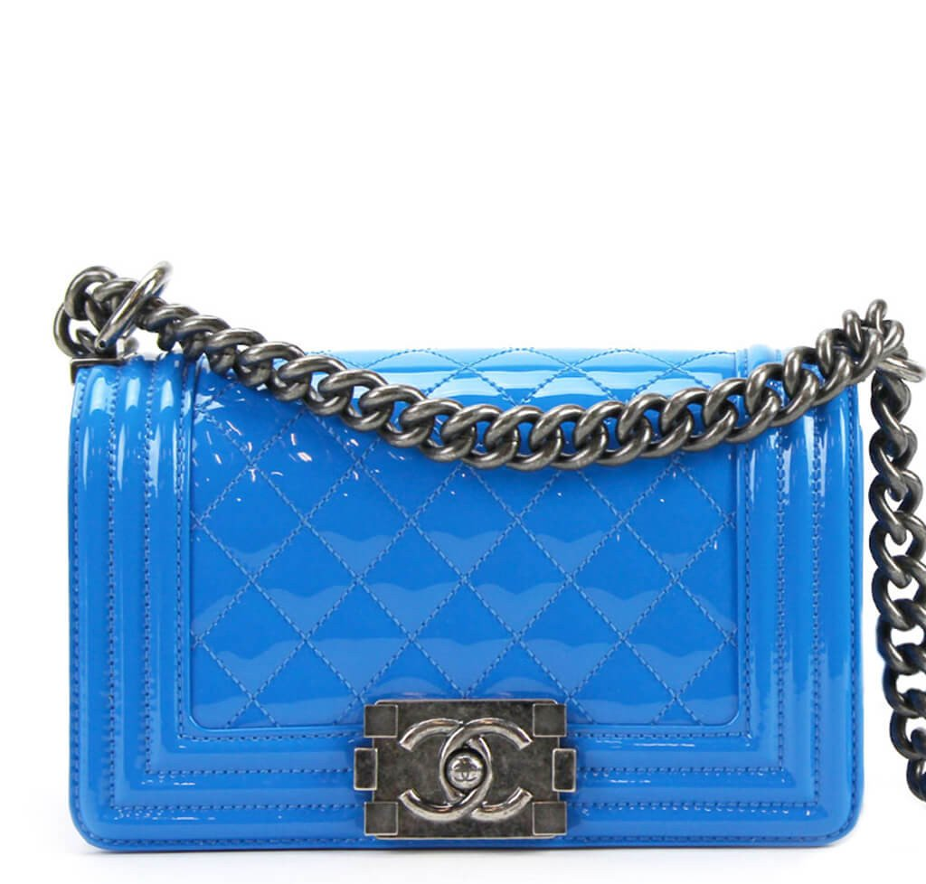 Chanel Boy Bag Electric Blue - Patent Leather SHW  3fd9e33d94bf