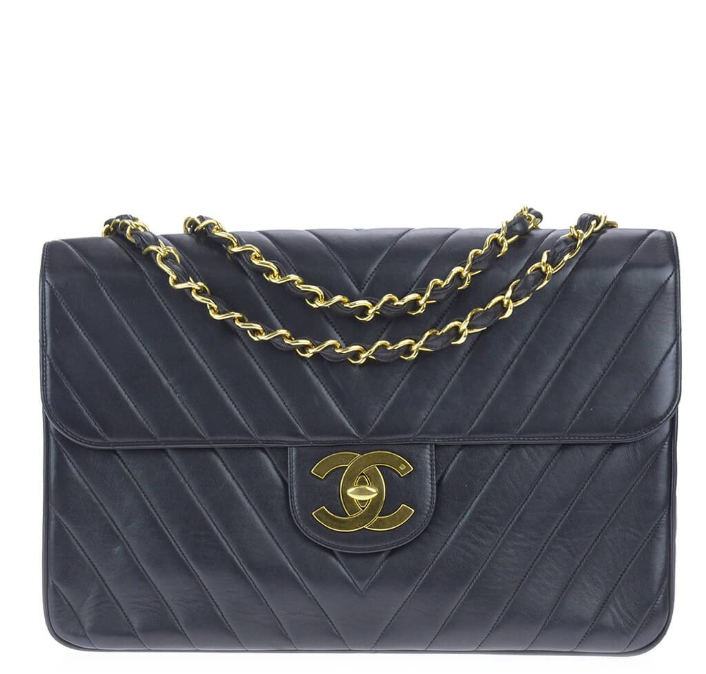 a65a8f1b12cf Chanel Chevron Flap Bag Black Lambskin Leather - Gold Hardware ...