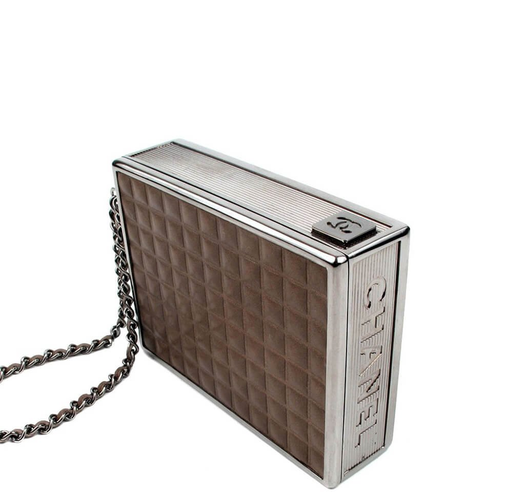 Chanel Cigarette Clutch Bag - Brown Quilted Leather SHW  d9c30bf830750