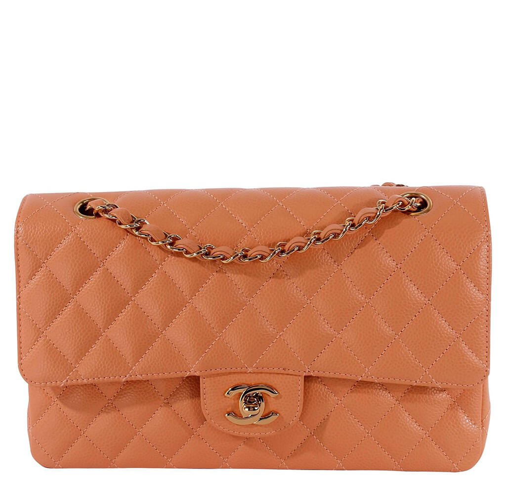 322abca37b52 Chanel Classic 2.55 Bag Peach Caviar Leather - Gold Hardware | Baghunter