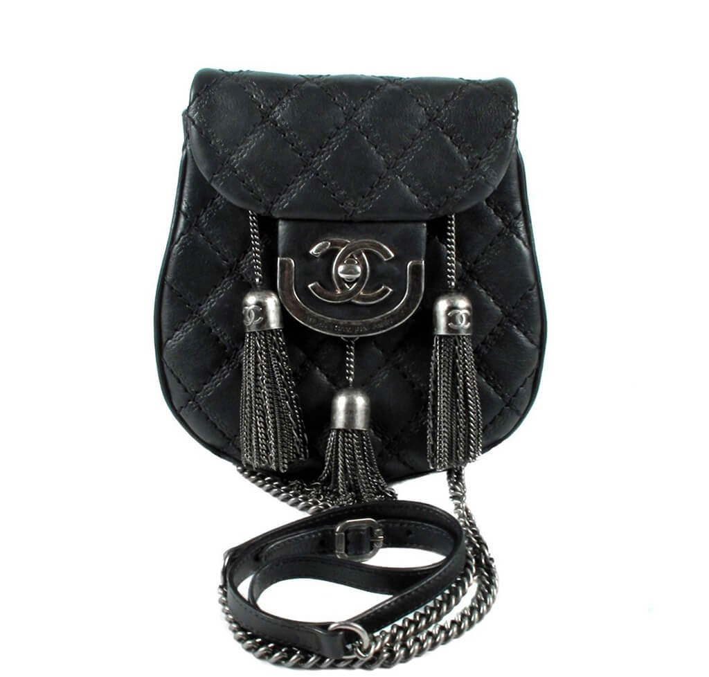7171145f189695 Chanel Crossbody Tassel Bag Black - Antiqued Gunmetal Hardware ...