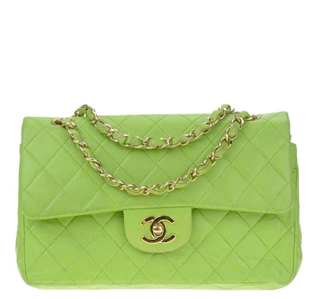 2e9640a6f7f4 Chanel Flap Bag Green Lambskin Leather - Gold Hardware | Baghunter