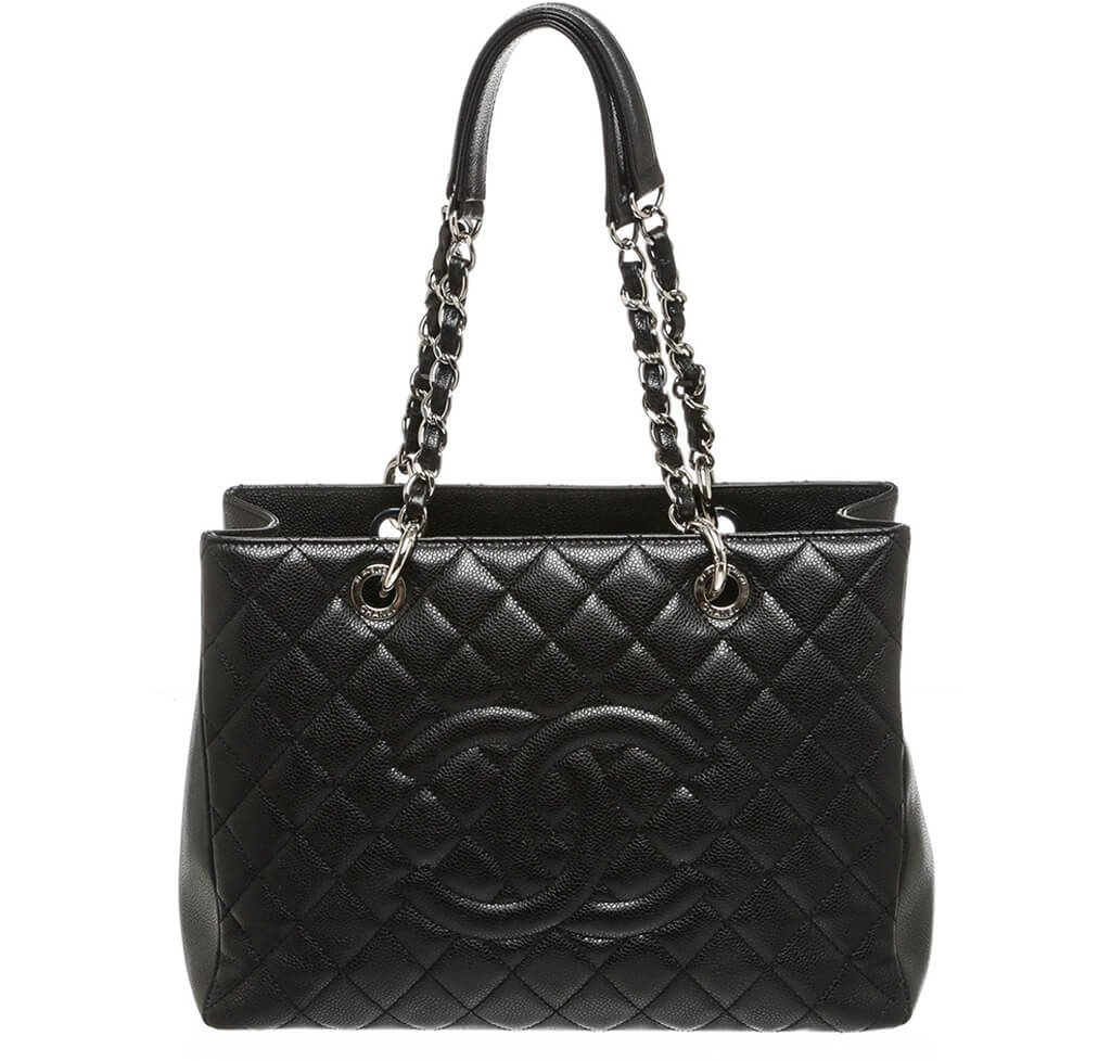 3bcfa7062c Chanel Grand Shopper Tote Bag Black Caviar Leather - Silver Hardware ...