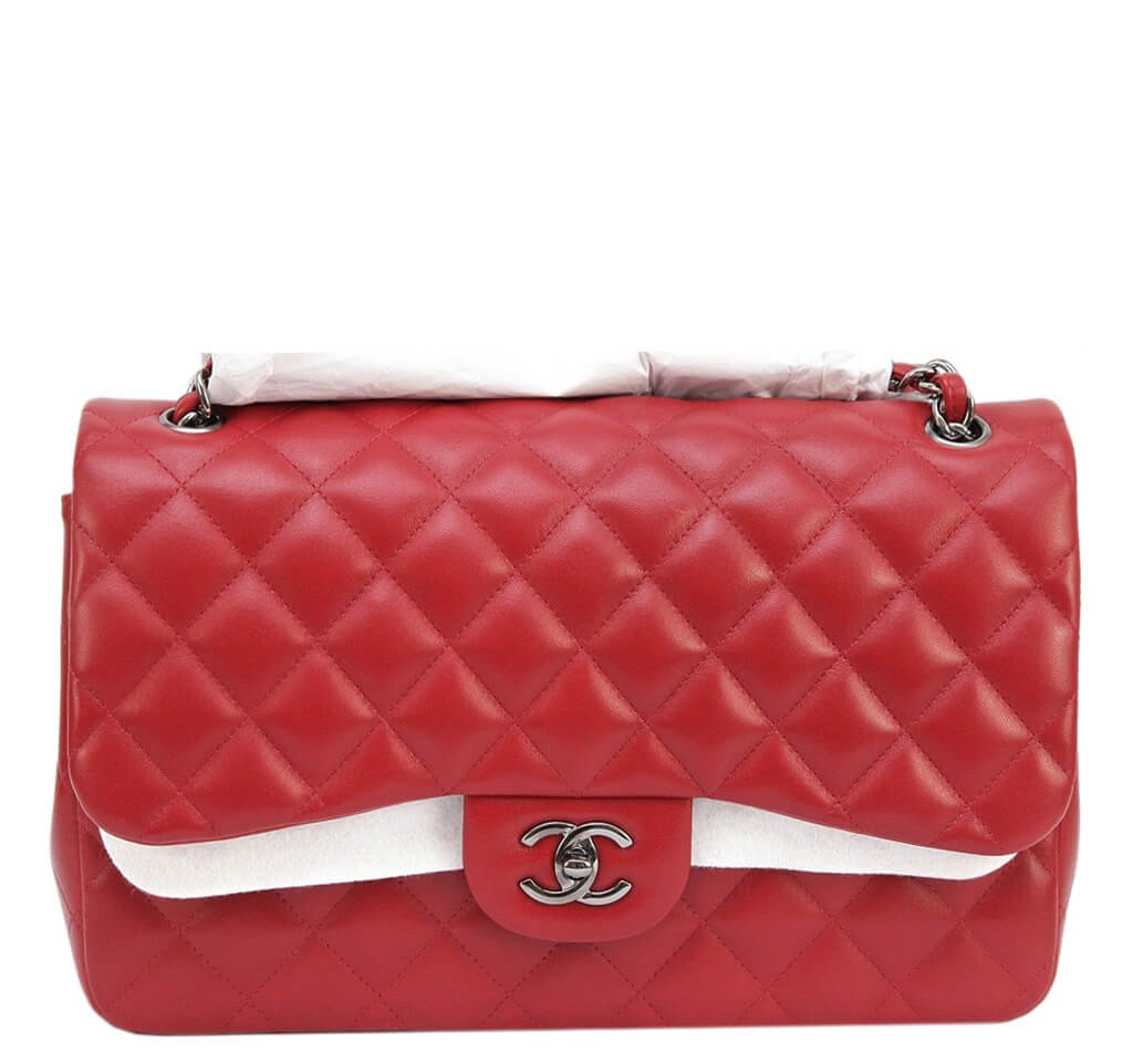 c4c3e8b08dfe39 Chanel Jumbo Double Flap Bag Red Ruthenium Hardware