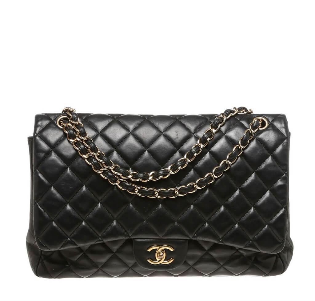 644f0bf390d3 Chanel Maxi Shoulder Flap Bag Black - Lambskin Leather | Baghunter