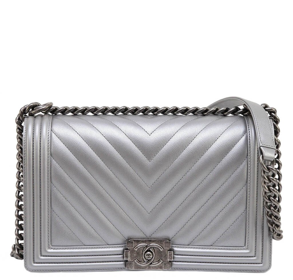 Chanel Metallic Grey Silver Boy Bag Caviar Leather  86b9e01c73f8a