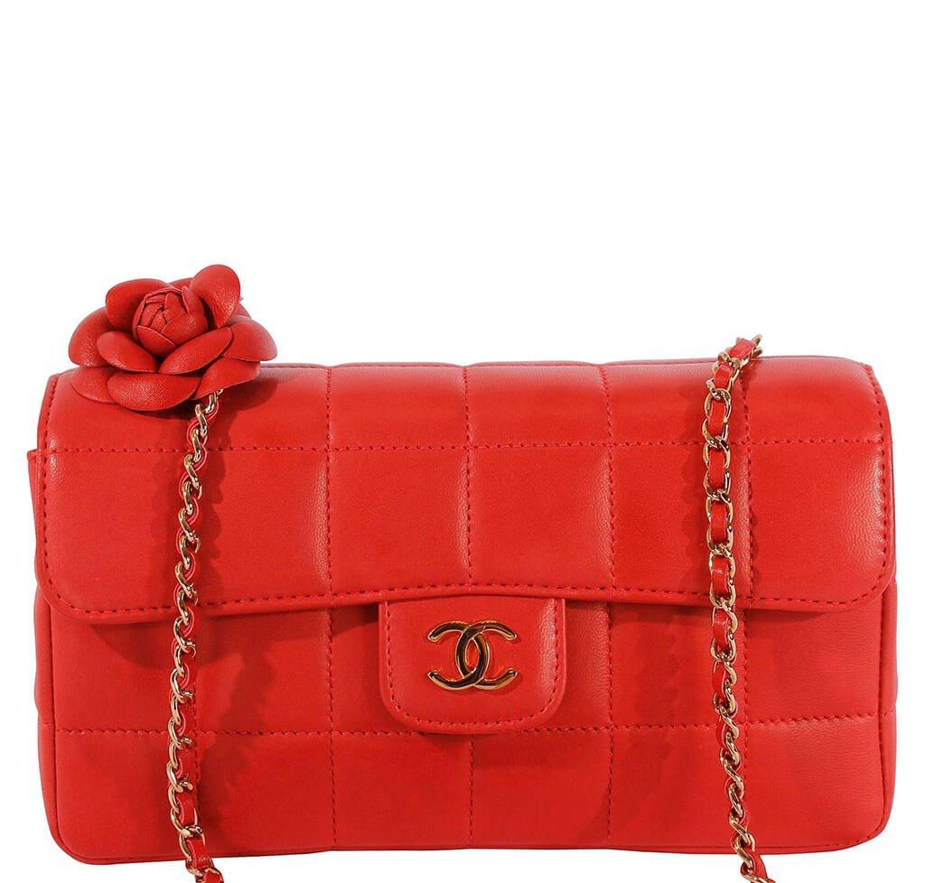 081a5c55 Chanel Mini Flap Camellia Bag Red