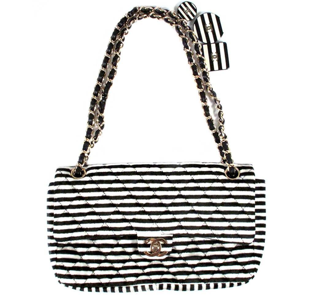 Chanel Rayeures Striped Velvet Flap Bag
