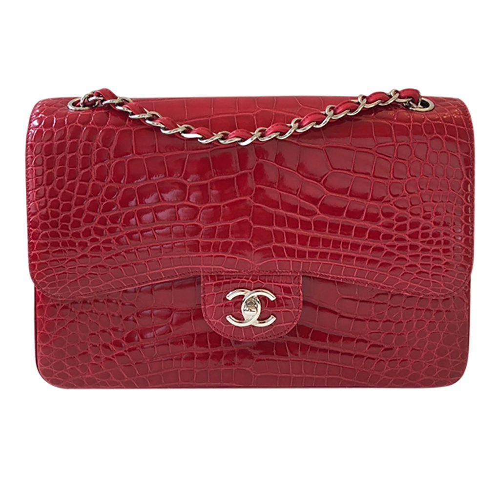 Chanel Red Jumbo Flap 2.55 Shiny Alligator Bag