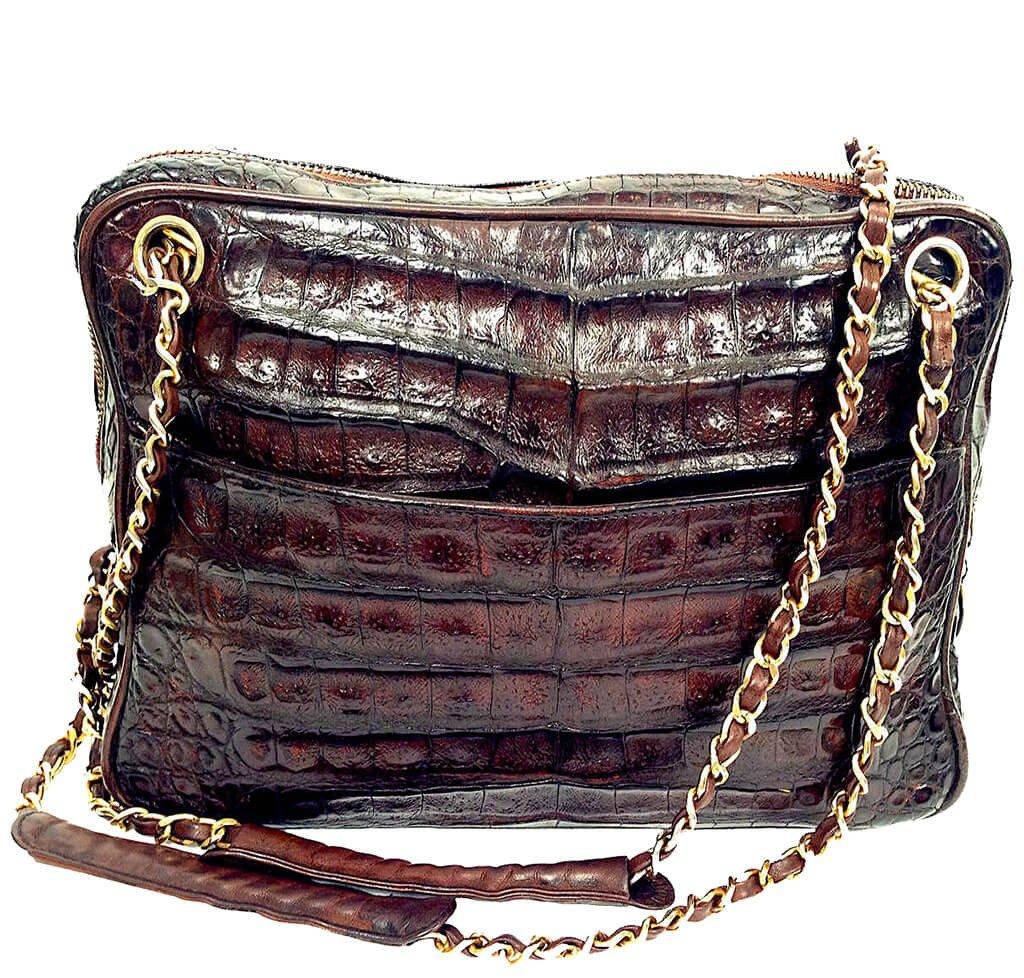 bc8926f0e8c4fb Chanel Vintage Tote Bag Brown Alligator Skin - Gold Hardware   Baghunter