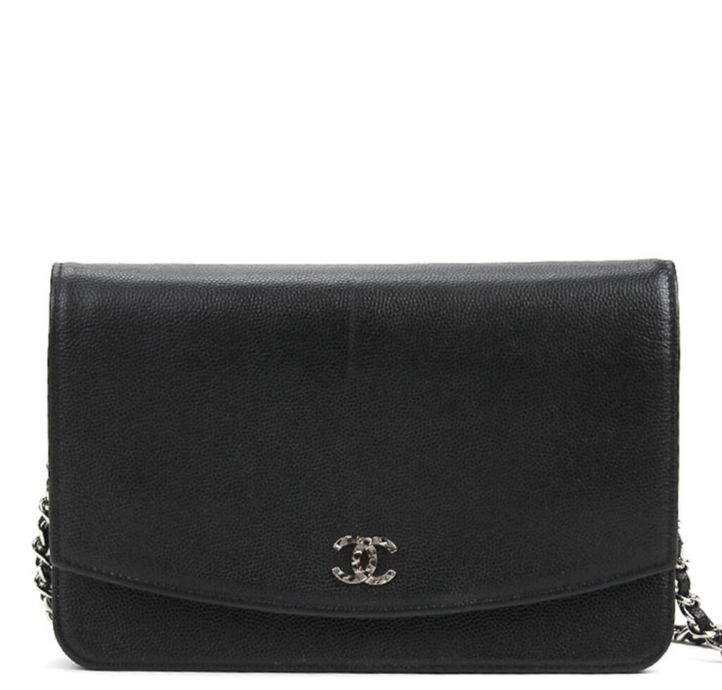 Chanel Wallet on Chain Bag - Black Sevruga Caviar Leather  88d93b096601b