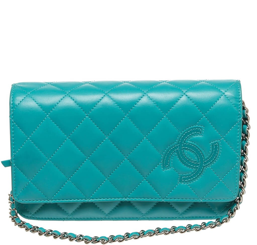 b7a794234c17 Chanel Wallet on Chain Bag Teal - Lambskin Leather Silver Hardware ...