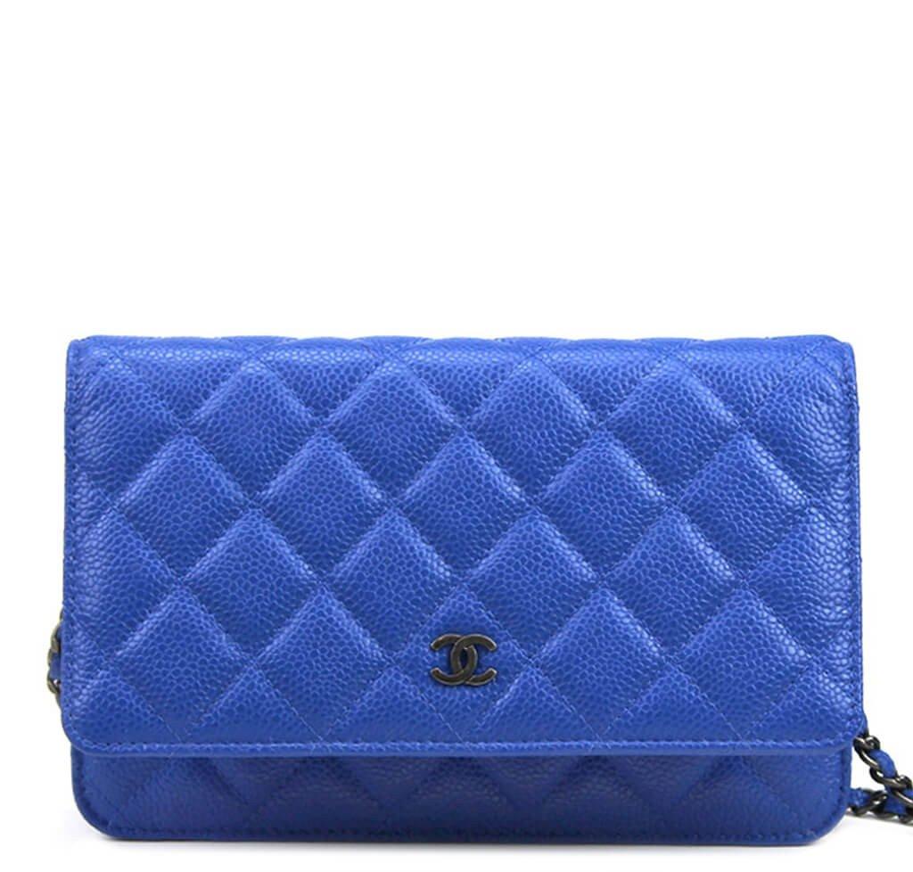 d07313e06c59a2 Chanel WOC Bag Blue Caviar Leather - Dark Silver Hardware   Baghunter