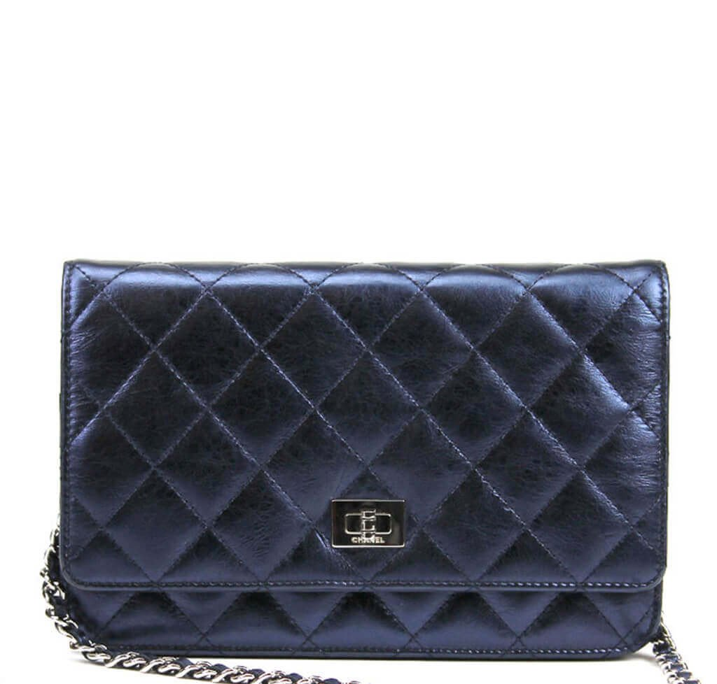 a68550c32ea7e2 Chanel WOC Bag Dark Blue Lambskin Leather - Silver Hardware | Baghunter