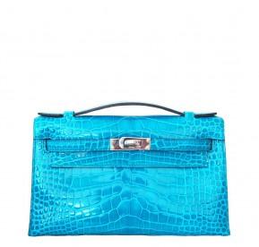 Hermes Blue Sapphire Shiny Porosus Crocodile Birkin 35cm