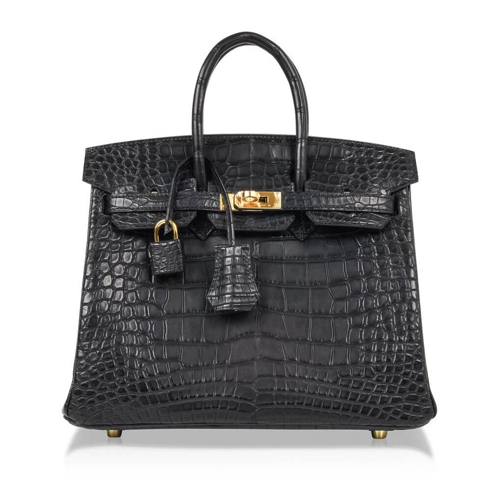 Hermès Birkin 25 Noir Alligator Bag GHW
