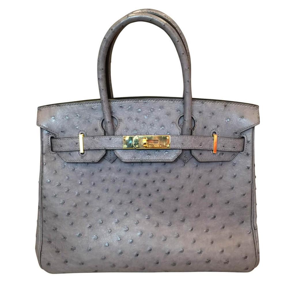 Hermès Gris Agate Ostrich Birkin 30 Bag GHW