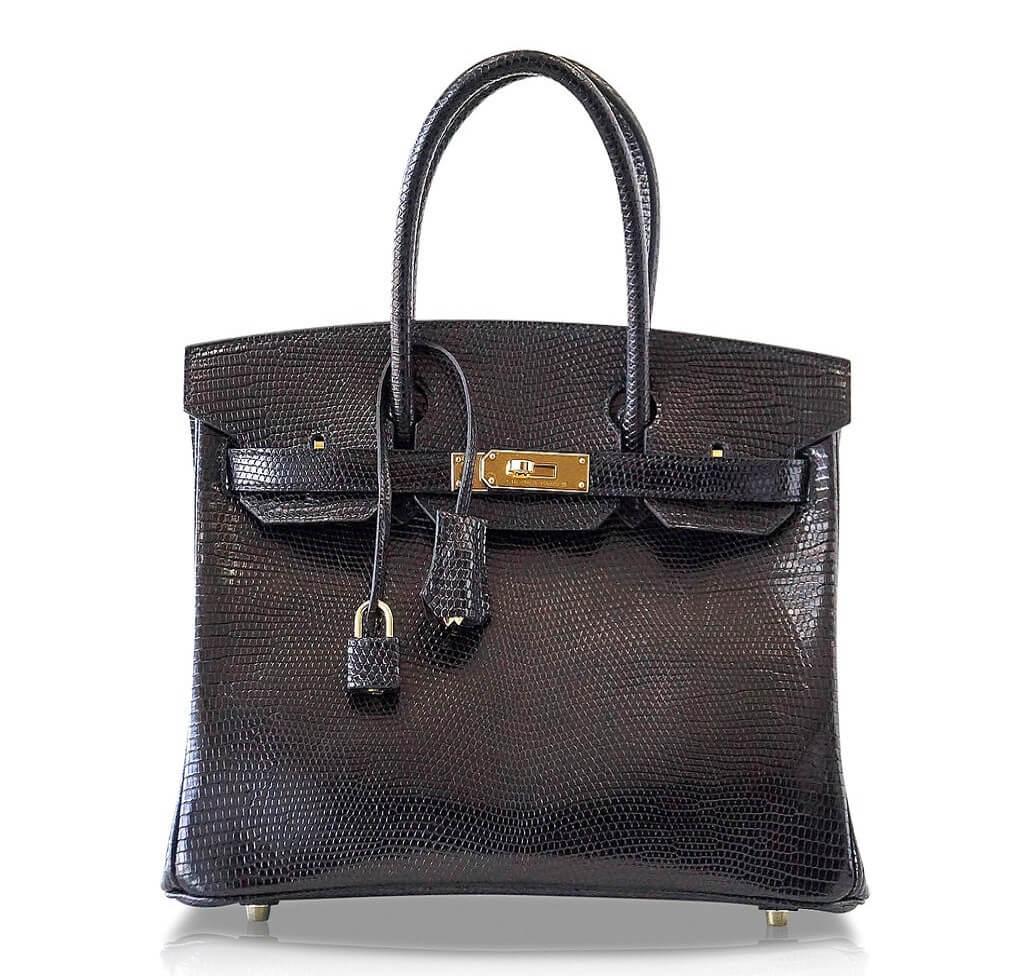 Hermès Birkin 30 Bag Noir Lizard GHW