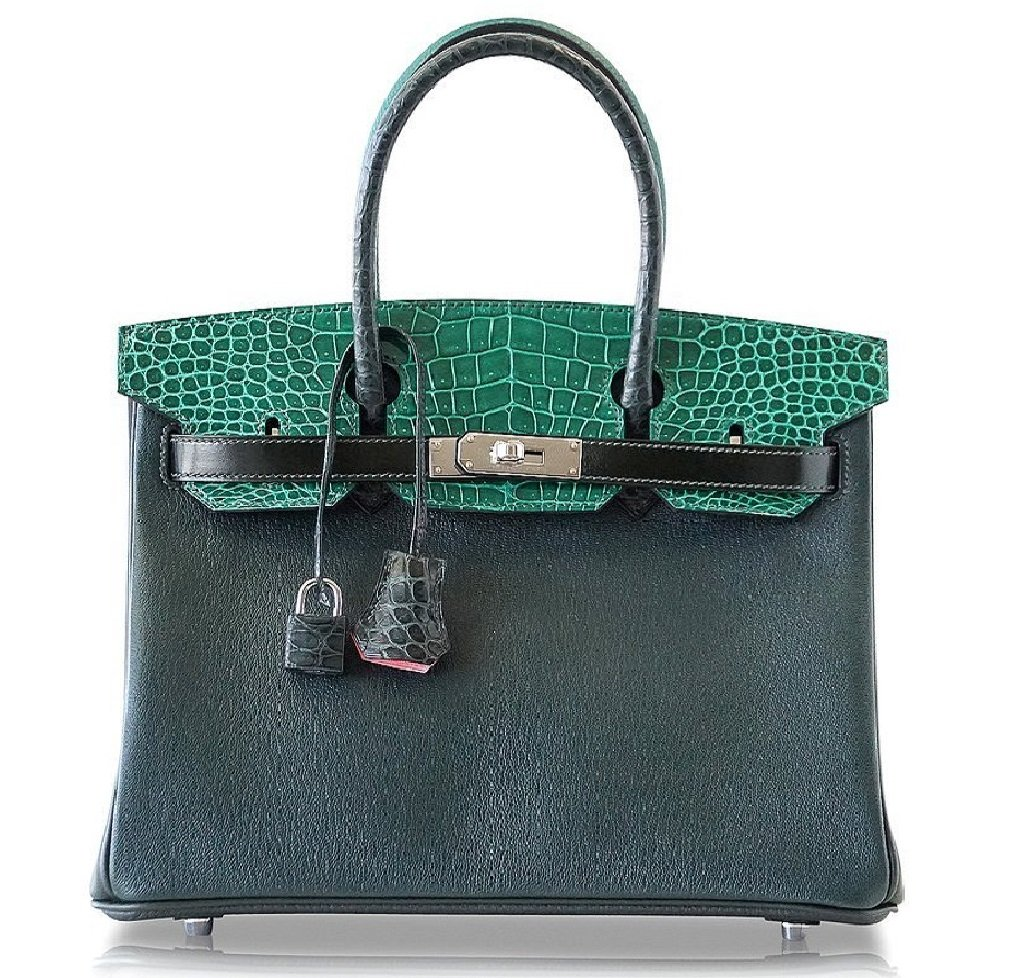Hermès Birkin 30 Patchwork Vert Crocodile Bag PHW - Limited Edition