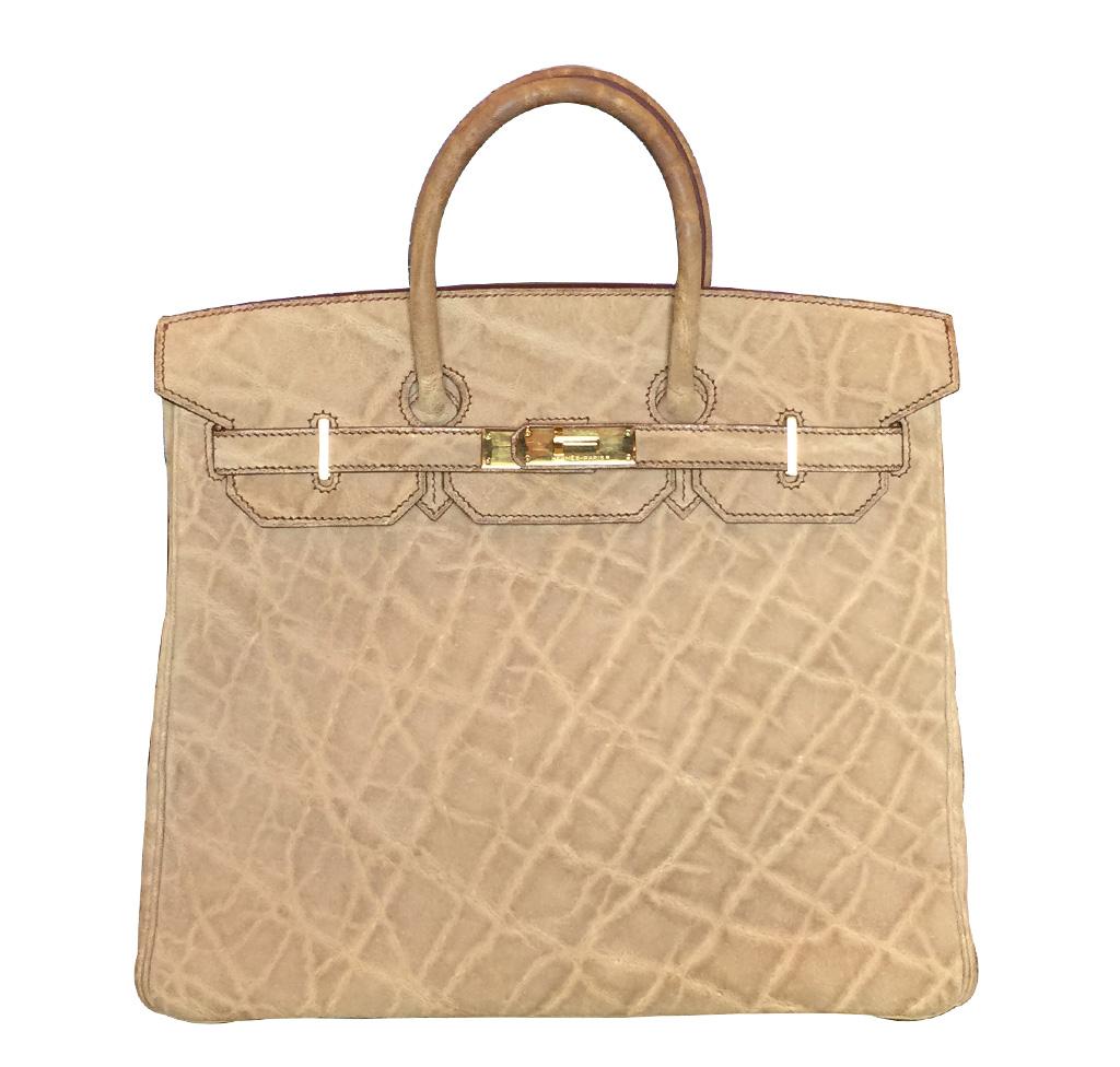 Hermes Birkin 32 HAC Natural Elephant Bag GHW