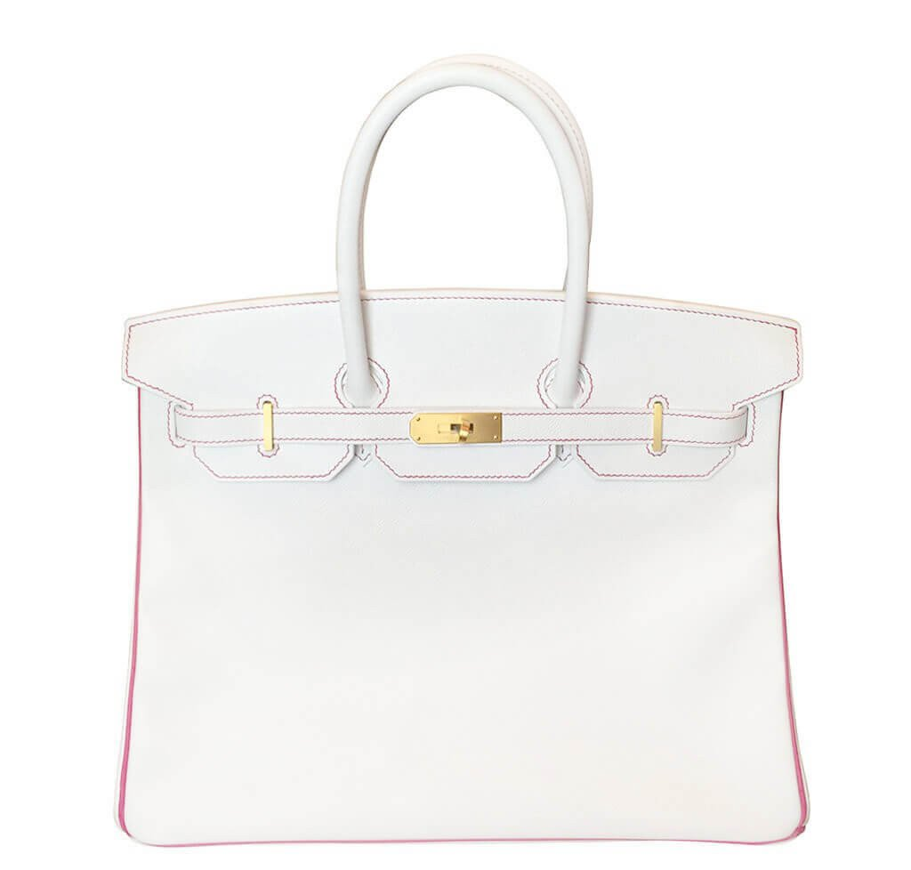 fb420d28a75 Hermès Birkin 35 Bag White Fuchsia Special Order GHW