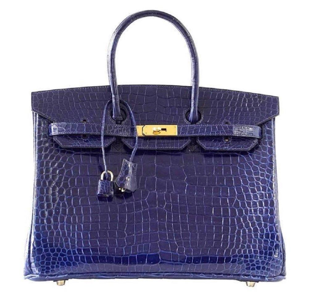 Hermès Birkin 35 Blue Sapphire Crocodile GHW Bag