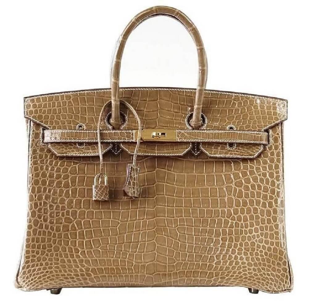 Hermès Birkin 35 Ficelle Porosus Crocodile Bag GHW