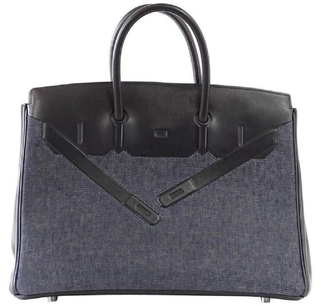 Hermès Birkin 35 Limited Edition Denim Shadow Bag