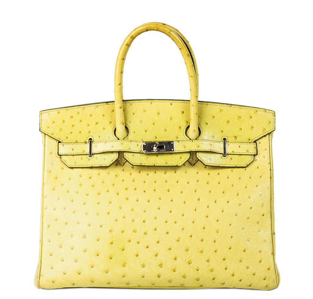 ab516a57c438 Hermès Birkin 35 Ostrich Bag Vert Anis - Palladium Hardware