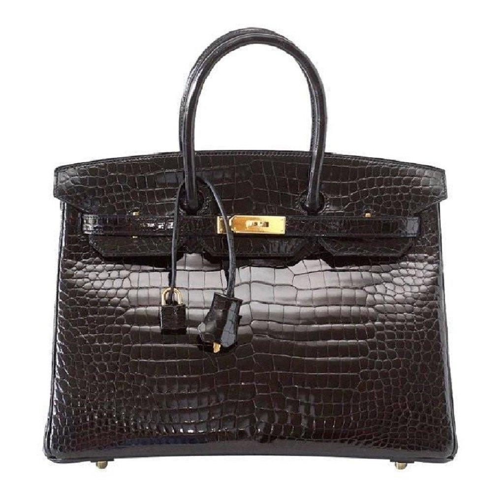Hermès Birkin 35 Porosus Crocodile Noir GHW Bag