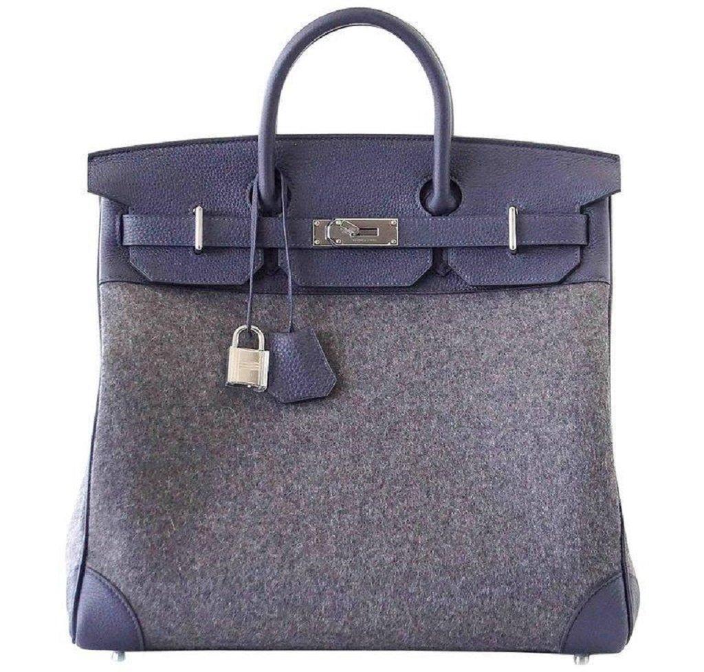 Hermès Birkin 40 HAC Gris Wool Blue Togo PHW Bag