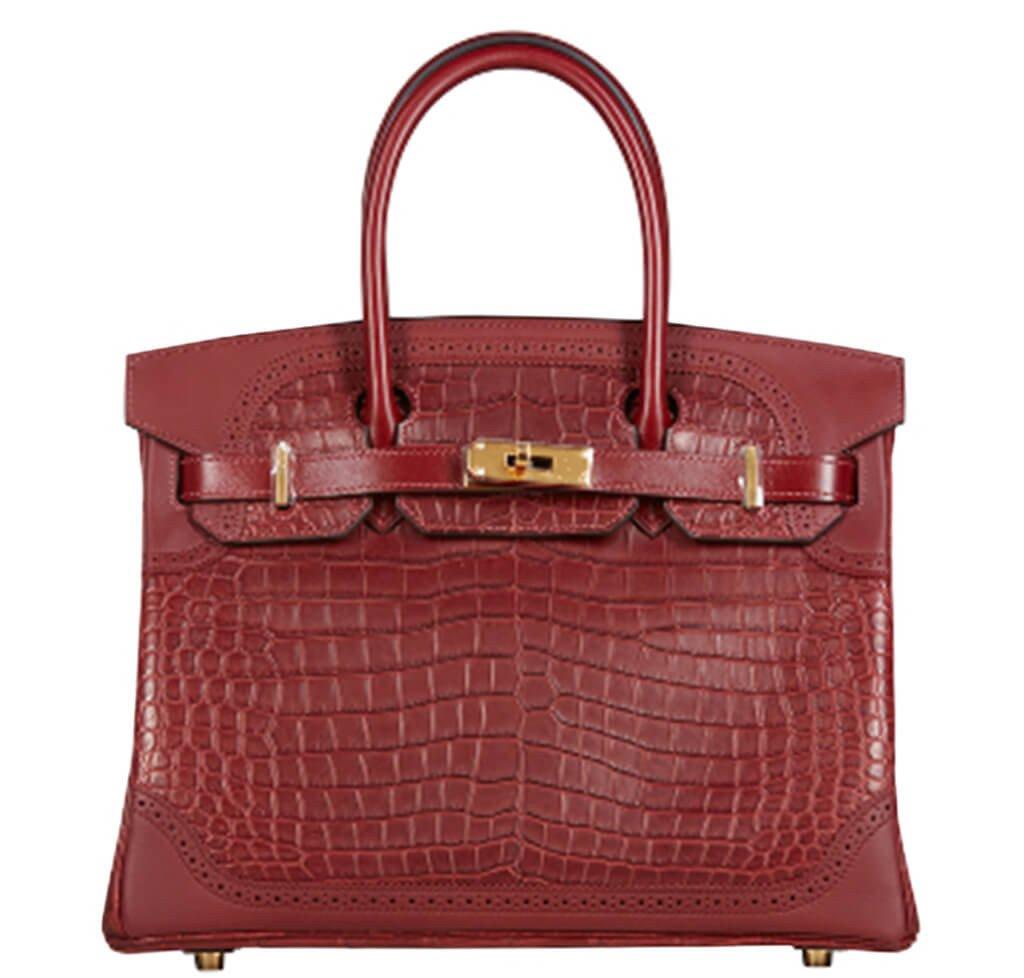 672cafb9c7df Hermès Birkin Ghillies 30 Bag Bourgogne   Rouge H - Crocodile Skin ...