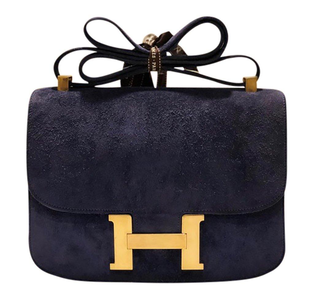 Hermès Constance 24 Vintage Navy Suede Bag GHW