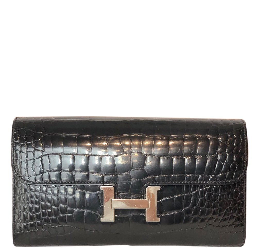 Hermès Constance Long Wallet Alligator Noir Clutch