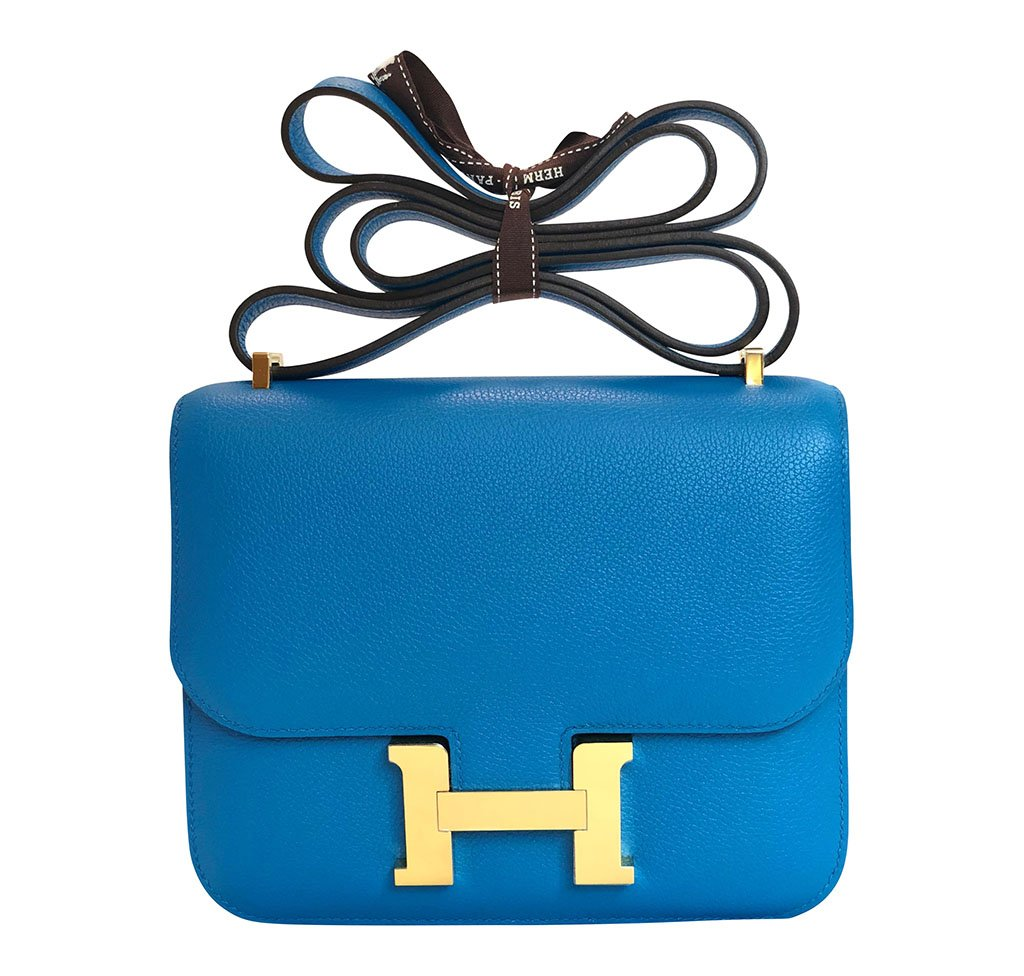 Hermès Constance Mini Blue Zanzibar Epsom GHW