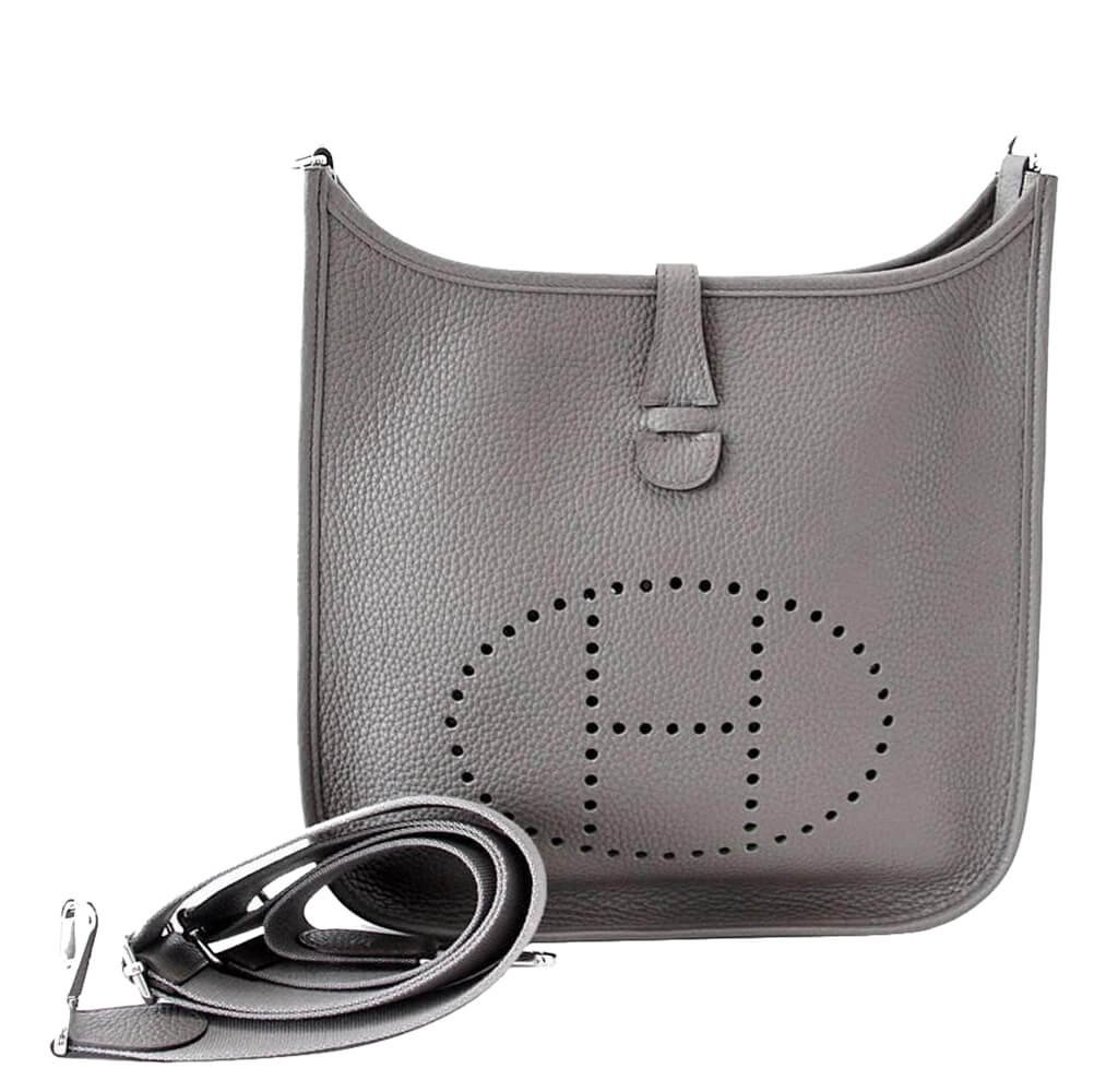 6cca472423e6 Hermès Evelyne PM Bag Etain - Clemence Leather Palladium Hardware ...