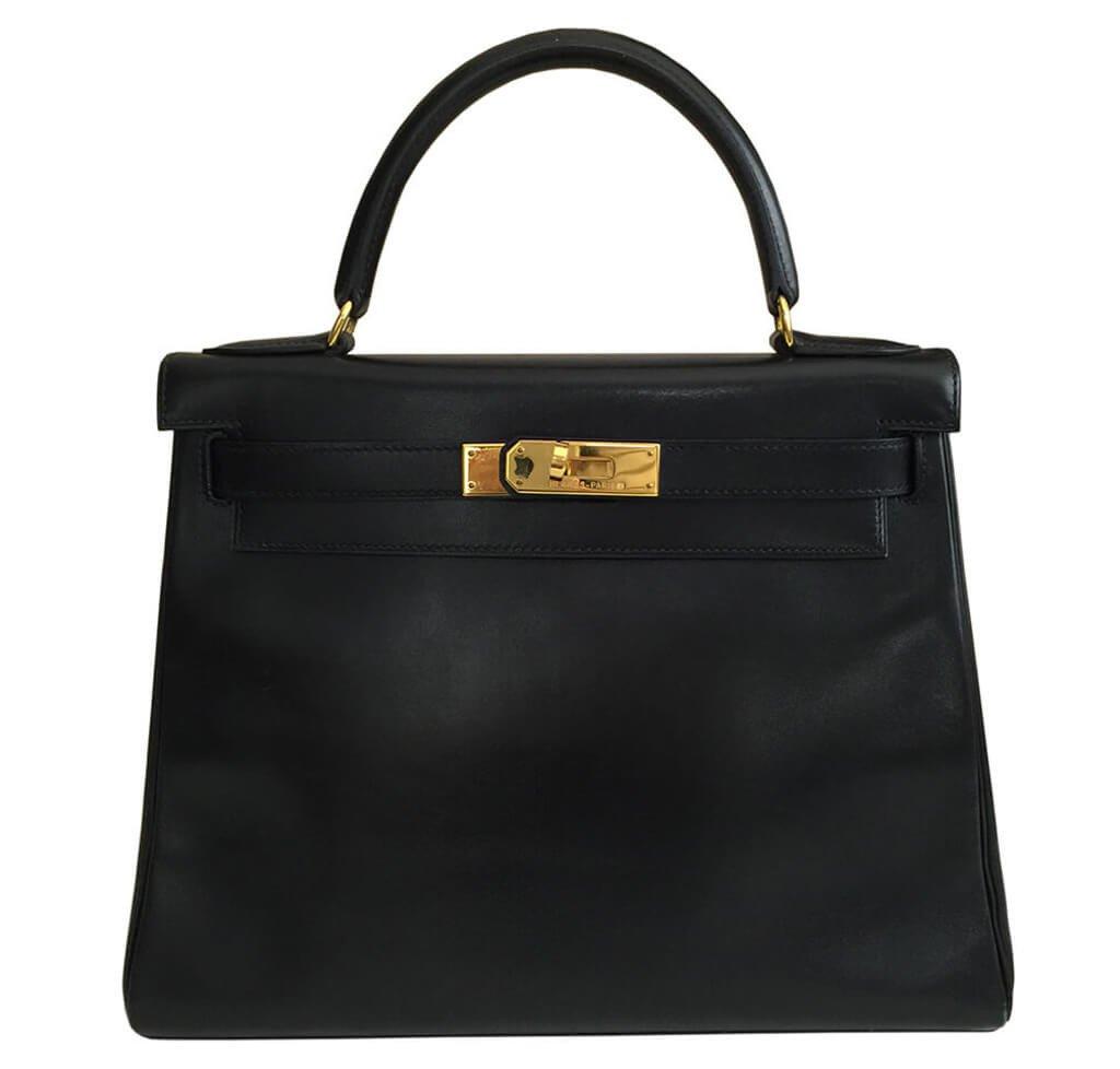 8ffe8c56130c Hermès Kelly 28 Bag Black Gulliver Leather - Gold Hardware