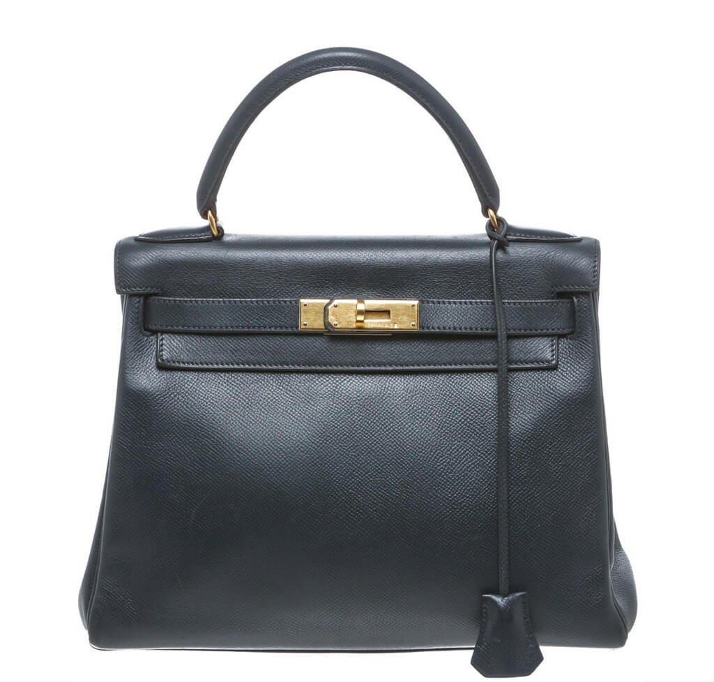 Hermès Kelly 28 Navy Blue Epsom Leather Bag GHW 2a516f93ef
