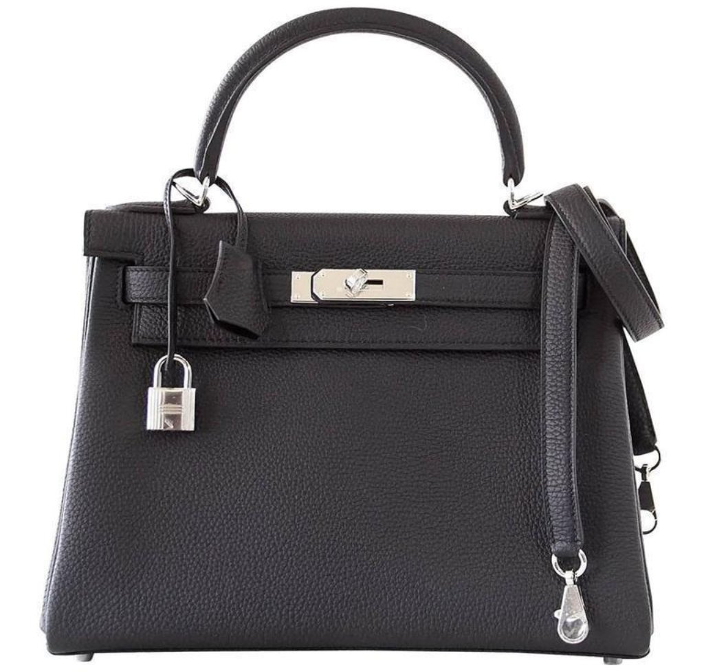 Hermès Kelly 28 Retourne Black Togo PHW Bag