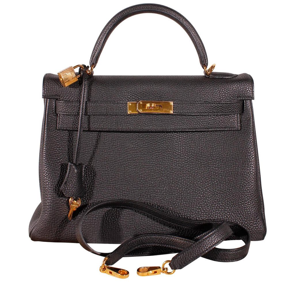 3a4a944b12d Hermès Kelly 32 Bag Black Togo Leather - Gold Hardware