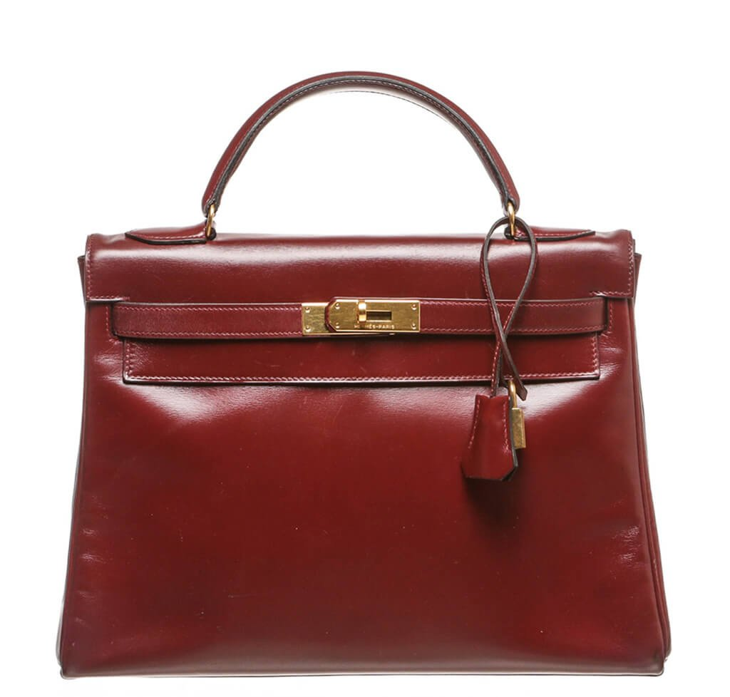 ebdf925803 Hermès Kelly 32 Bag Burgundy Gold Hardware - Box Leather | Baghunter