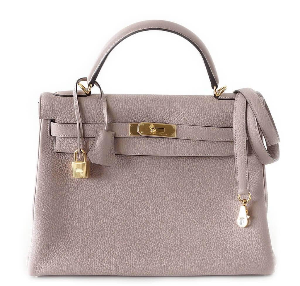 Hermes Glycine Kelly Pochette Cut Clutch Bag Palladium