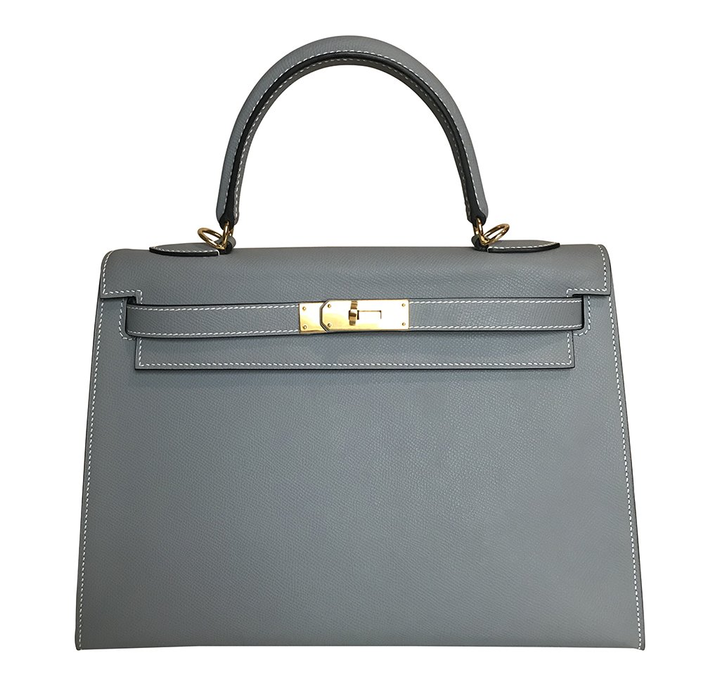 Hermès Kelly 32 Sellier Gris Epsom Bag GHW