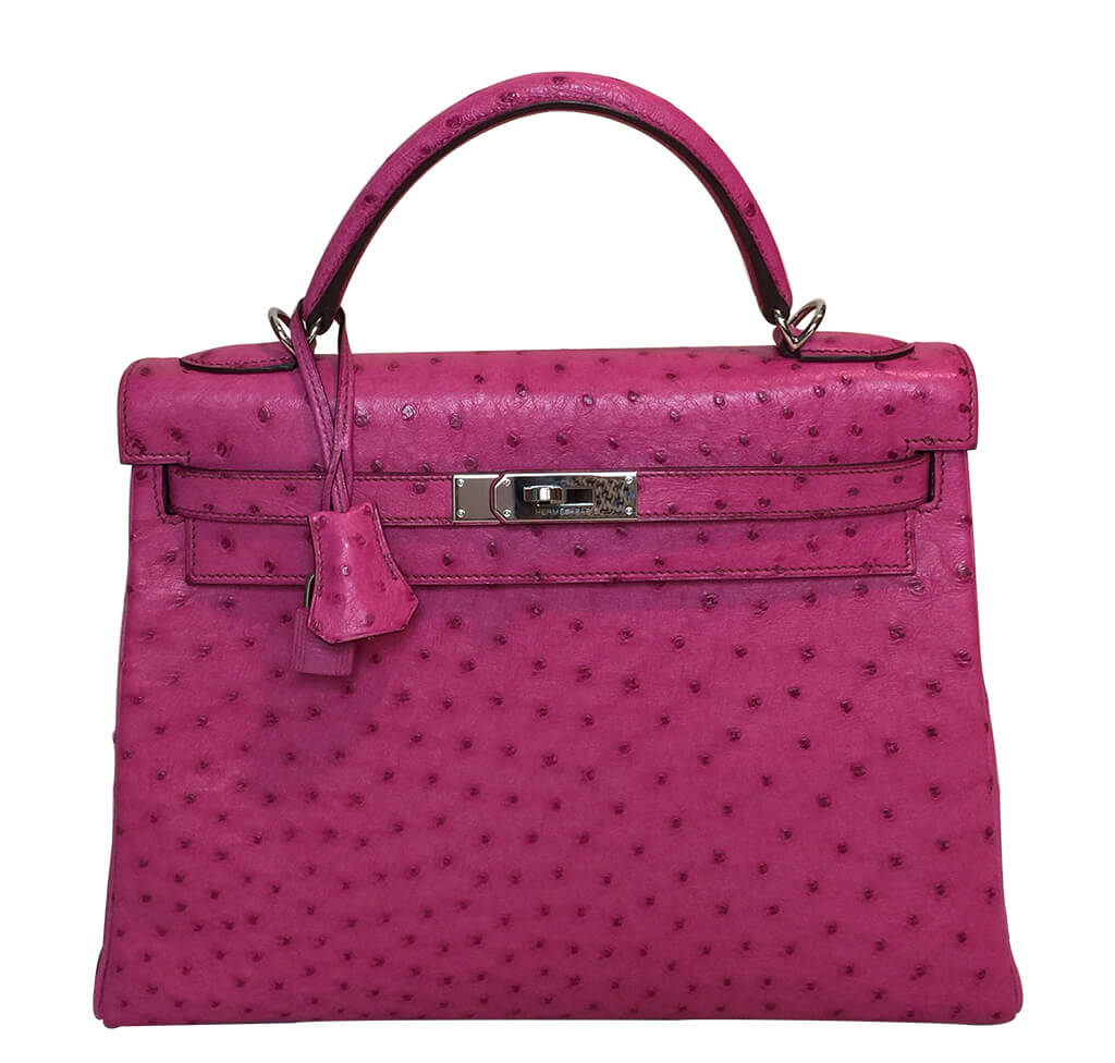 Hermes Ostrich Kelly 32 Bag Pink Fuchsia PHW