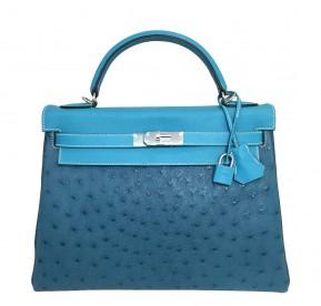 Hermès Limited Edition Kelly 32 Blue Green Bag