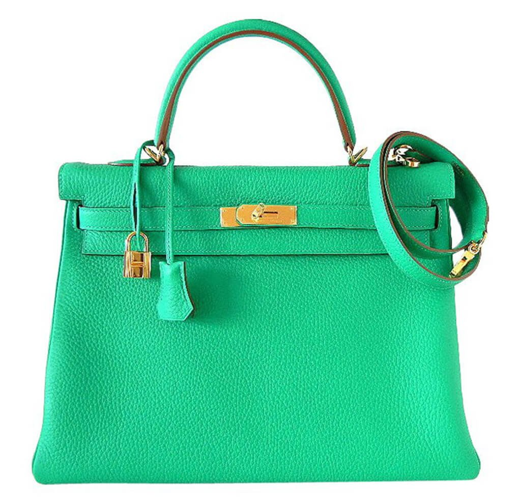 ae36ab3fa0 Hermès Kelly 35 Bag Menthe Clemence Leather - Gold Hardware | Baghunter