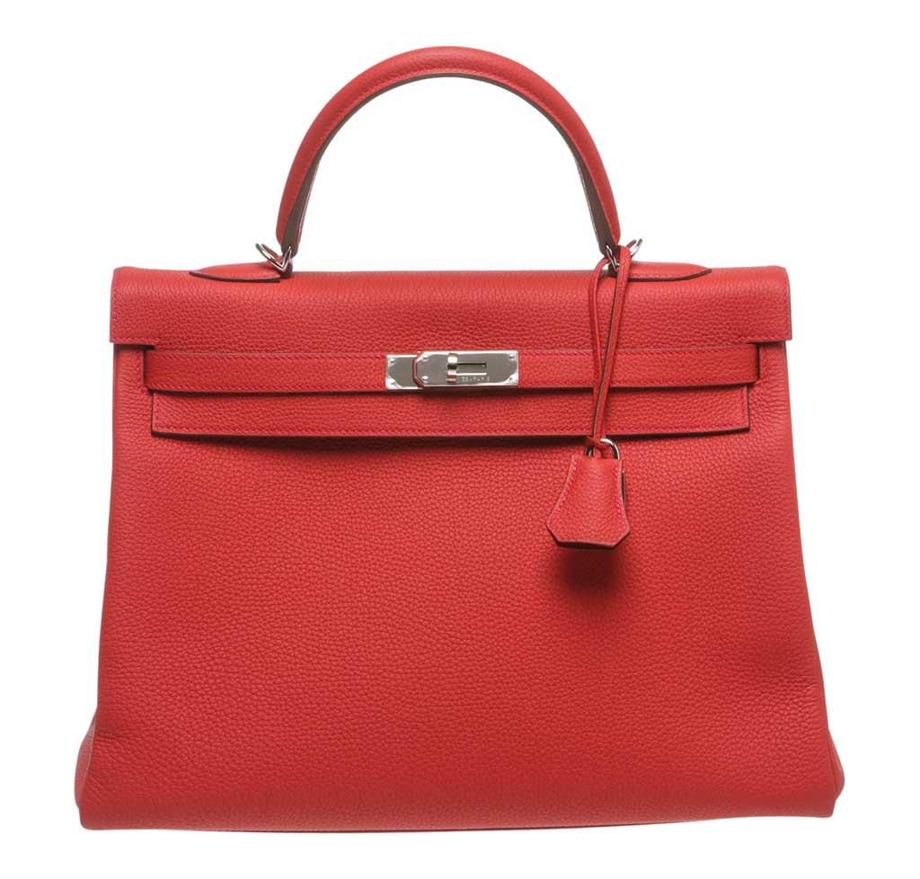Hermès Kelly 35 Red Bag Palladium Hardware