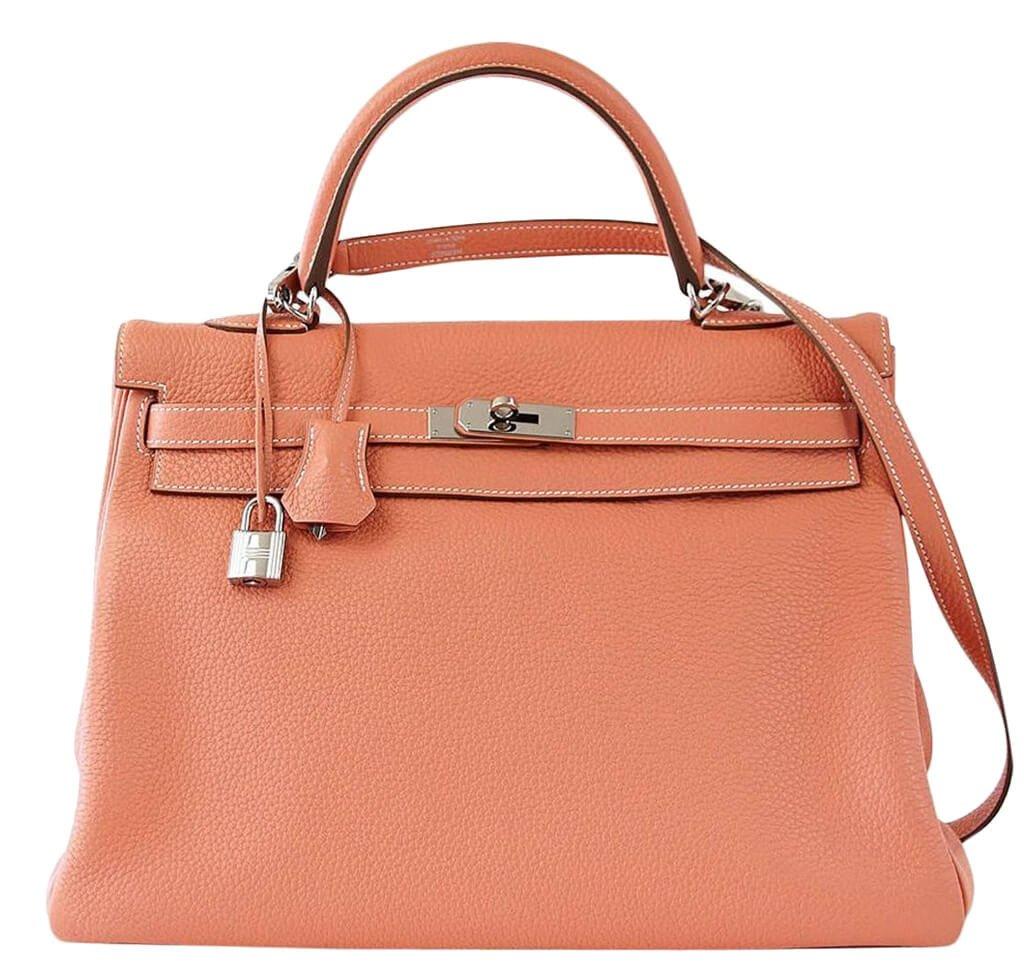 Hermès Kelly 35cm Bag Crevette Togo Leather - Palladium Hardware ... 81c996212